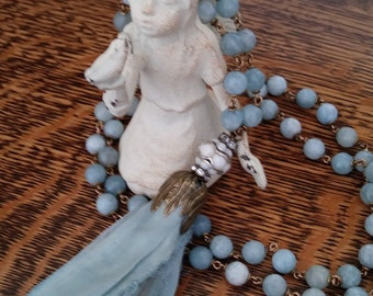 Natural Aquamarine Mala Style Necklace