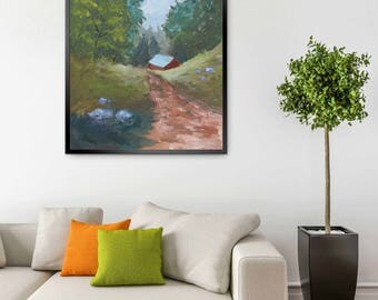 Landscape Oil Painting - Original Painting - Road Painting - Red Barn Painting - Road Landscape - Farmhouse Home Decor - Country Home Decor