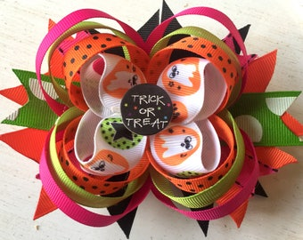 Trick or Treat Stacked Halloween Boutique Hair Bow
