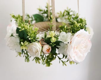 Green hanging wreath, nursery flower mobile, floral crib mobile, baby girl mobile, baby mobile, floral chandelier, nursery mobile