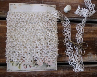 """Vintage white tatted lace, 6 yards, 1"""" wide"""
