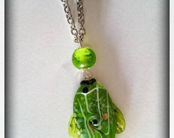 """Unique necklace """"The melody of the fish"""" _ Lampwork beads"""