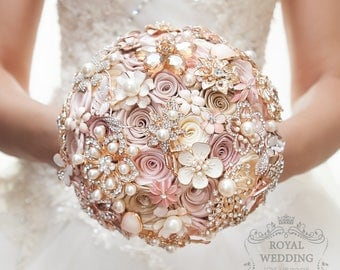 Wedding bouquets etsy cascade fabric brooch bouquet pink ivory brides rose gold wedding bouquet broach jewelry bridesmaids gift flower junglespirit