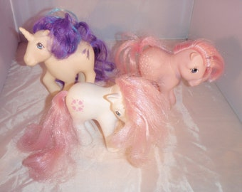 Vintage My Little Ponies Set of 3 Hasbro 1980s