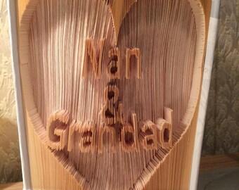 Nan & Grandad cut and fold book art pattern