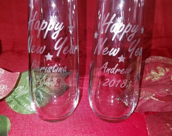 Etched New Year Toasting Stemless Champagne Flutes Set