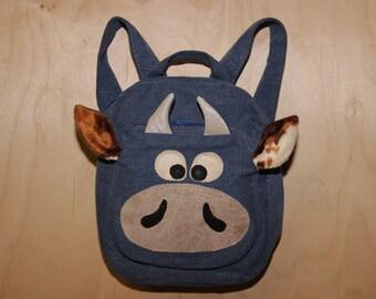 Denim backpack, cow backpack , upcycled denim backpack , jeans kids toddler backpack , funy backpack , denim bag , childrens backpack