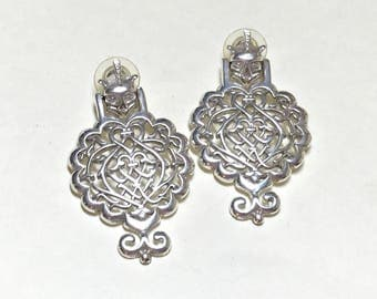 Impressive vintage large doorknocker pierced earrings with gargoyle heads, gothic earrings, gargoyle earrings, statement earrings, 1980s
