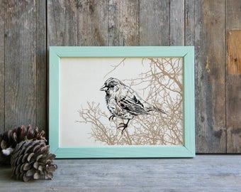 Bird Wall Art, Modern Style Poster, Woodland Animals, Printable Wall Decor, Bird Decor, Rustic Wall Hanging, Gift Under 10