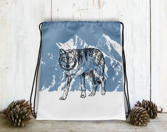 Wolf Bag, Drawstring Bag For Man, Gray Wolf Backpack, Bag Drawstring, Hipster Gift, Blue White Bag, Drawstring Backpack, Gift Under 30