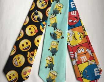 Emoji tie, Minions tie, M&M tie