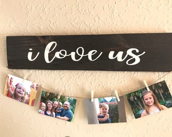 "Valentines gift, ""I love us"" spouse gift, wedding gift, anniversary gift, gift for him, gift for her, photo display"