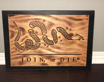 Join or Die Wooden Flag