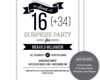 Sweet 40 Birthday Party Invitation Suite --- Templates --- Instant Download - #C115-IS-D