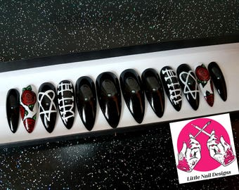 HIM band Inspired Hand Painted False Nails | Little Nail Designs