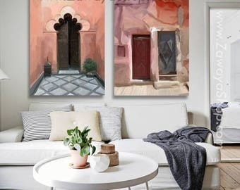 set of two Moroccan art prints on stretched canvas ready to hang wall art with coral earth tone shades