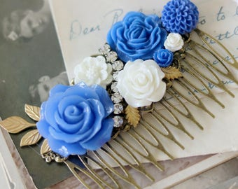 Blue Hair Comb - Floral Hair Comb - Vintage Style Bridal Comb - Boho Wedding Hair Accessories - Wedding Comb - Something Blue Hair Comb