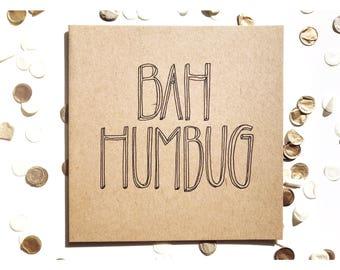 Bah Humbug Christmas card, typography, kraft