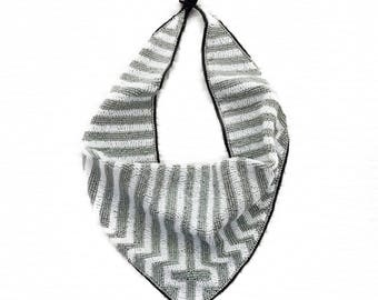 Mercer Beaded Scarf Necklace in Gray & White