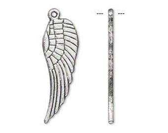 Silver Wing, Wing Charm, Antiqued, Double Sided Wing, 28x9mm, 4 Each, D1011
