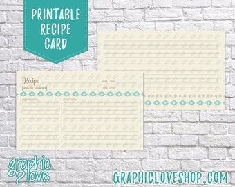 Printable Aztec Teal 3x5 Double Sided Recipe Card   Wedding Shower, Bridal, Recipes   Digital JPG Files, Instant Dowload, File NOT Editable