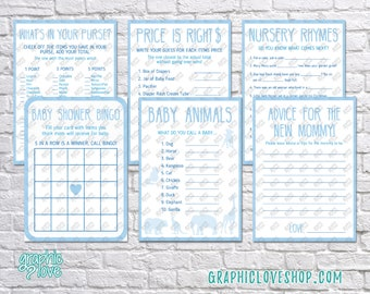 Printable Set of 6 Blue Baby Boy Shower Games & Advice for Mom Card | PDF, Instant Download, Ready to Print, Files NOT Editable