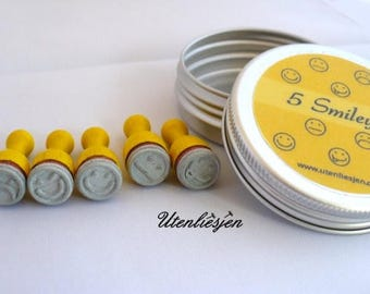 5 smiley stamps in aluminum box, laughing, crying... Ø 12 mm