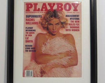 Vintage Playboy Magazine Cover Matted Framed : February 1992 - Rachel Williams