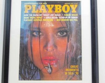 Vintage Playboy Magazine Cover Matted Framed : February 1977 - Lena Kansbod