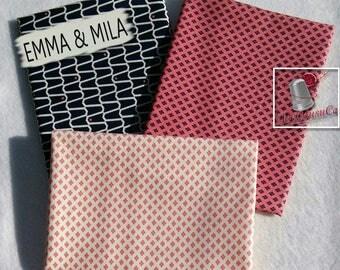 3 prints, Navy, corail, ivory, Emma & Mila, 100% cotton, 140 GSM, 1 of each, Bundle,