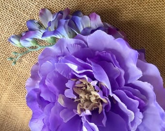 Flower hair clip, purple flower hair clip, Purple cabbage rose with lavender spray