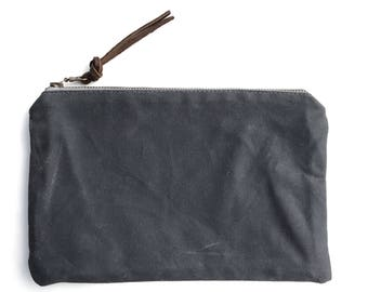 Waxed canvas accessory bag small