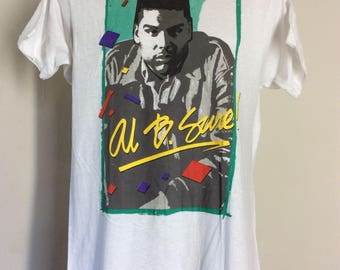 Vtg 1989 Al B Sure T-Shirt White M/L 80s R&B Hip Hop Rap Screen Stars