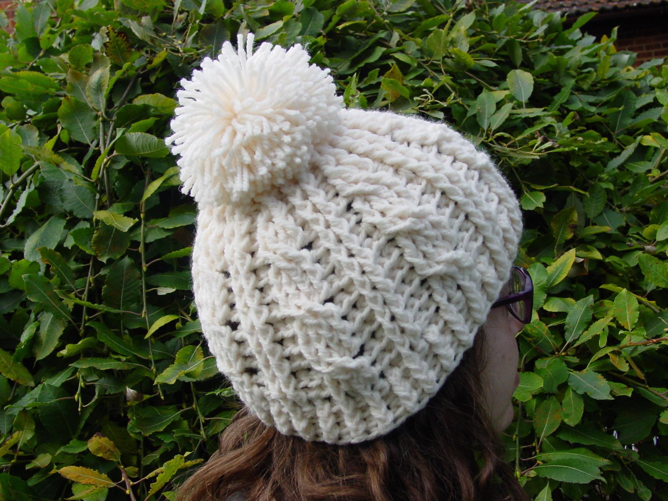 97f46e3423b823 Pom Pom Hat.Cream aran, cable beanie, Bobble hat, winter hat,