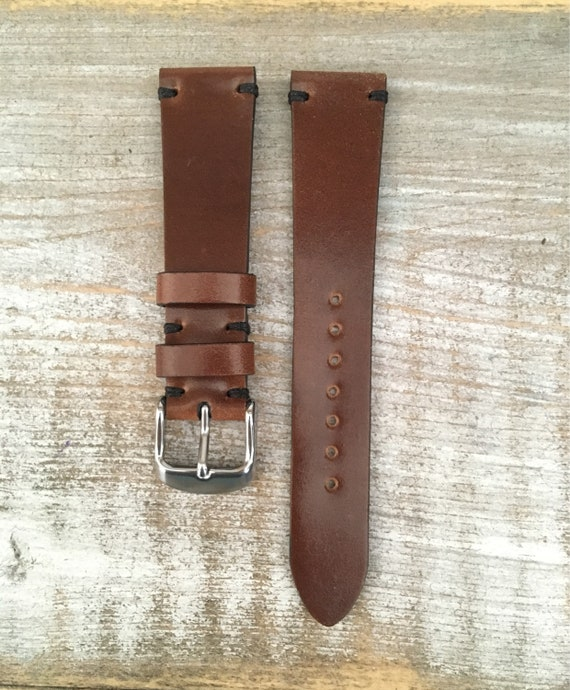 19/16mm Bourbon Horween Shell Cordovan watch band - simple side stitch