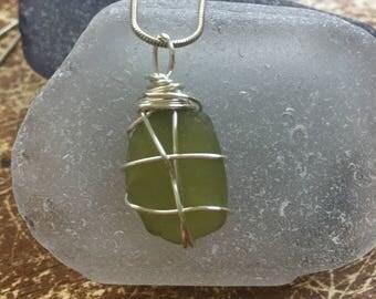 Citron seaglass pendant