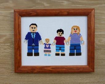 Lego Minifigures Personalized Family Portrait Cross Stitch. Custom Cartoon Portrait Cross Stitch. Lego Birthday Party, Lego Wedding Gift.