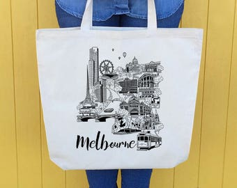 Melbourne City illustrated icons screen printed tote bag, Melbourne Gift, Canvas Bag Gift
