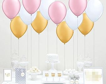 "60pcs 10"" Mixed Gold Pink White Latex Balloon Girl Baby Shower Birthday Party Wedding Decoration"
