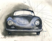 Porsche 356  - Classic Porsche 356 Car-racing auto decor- car art wall porsche - Original watercolor painting- Juan Bosco