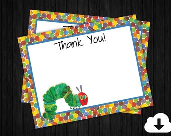 Hungry Caterpillar Blank Thank You Cards ONLY, Birthday Thank You Cards, Hungry Caterpillar Thank You, Printable INSTANT DOWNLOAD