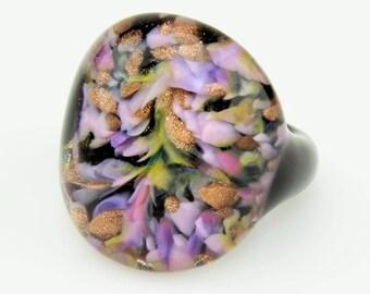 Ring (borosilicate glass) lilac/pink