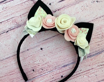 Black Kitty Flower Crown Headband, 100% Merino Wool Felt