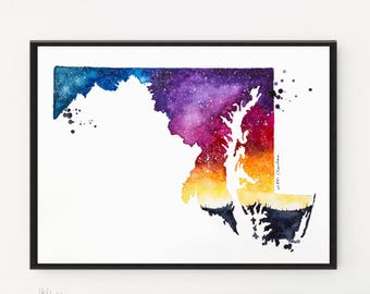 Maryland Map, State map, Galaxy painting, Watercolor Painting, Illustration, State Print, Long Distance art, House warming Gift, Gift Ideas