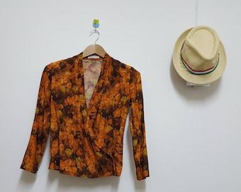 FREE SHIPPING, Japan Blazer, Small Size, Floral Jacket, LOUIS Joone, Front wrap blouse