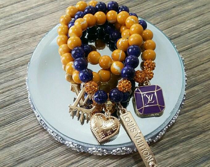 Designer Inspired Purple & Mustard Yellow Charm Set