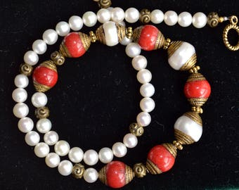 Coral and pearls necklace, coral necklace, pearls necklace (745)