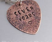 Seven Year Anniversary Copper Guitar Pick Key Ring  music lovers  plectrum  guitar man  I pick you  Glastonbury Festival