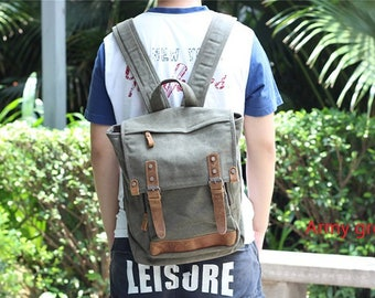 New Canvas Backpack,Schoolbag,LAPTOP Backpack,Canvas Rucksack ,Day pack,Handmade Leather Bag