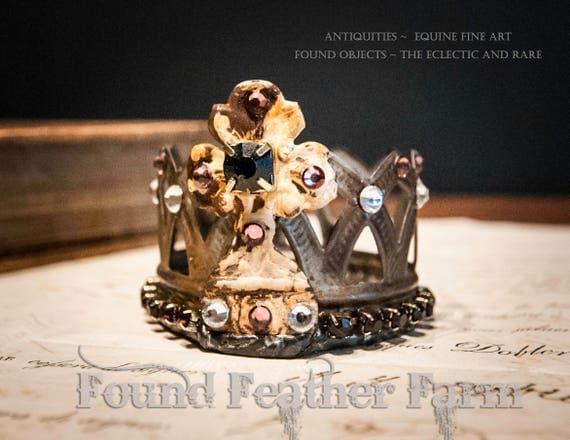 Handmade Embellished Tin Crown with Vintage Rich Garnet Jewels